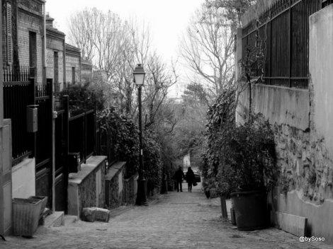 Vue plongeante d'une ruelle remplie de villas dans le quartier de la Mouzaïa